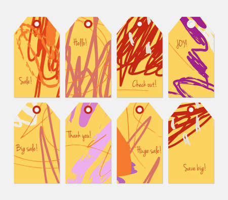 Roughly scribbled orange yellow orange tag set.Creative universal gift tags.Hand drawn textures.Ethic tribal design.Ready to print sale labels Isolated on layer.