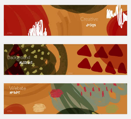hand brushed: Doodled triangles scribbles red brown banner set.Hand drawn textures creative abstract design. Website header social media advertisement sale brochure templates. Isolated on layer