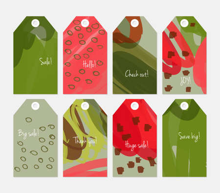 doodled: Doodled circles marker brush scribbles and marks green red tag set.Creative universal gift tags.Hand drawn textures.Ethic tribal design.Ready to print sale labels Isolated on layer.