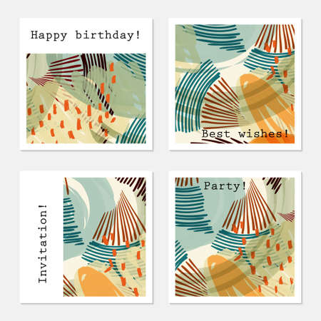 hand brushed: Green cards with orange dotted shapes.Hand drawn creative invitation greeting cards. Poster, placard, flayer, design templates. Anniversary, Birthday, wedding, party cards set of 4. Isolated on layer.