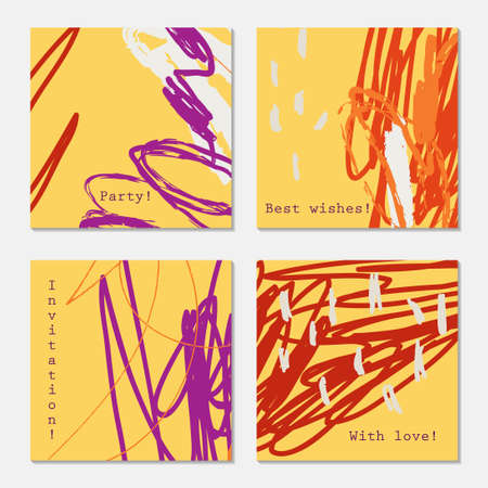 hand brushed: Abstract doodles scribbles marks yellow purple orange.Hand drawn creative invitation greeting cards. Poster, placard, flayer, design templates. Anniversary, Birthday, wedding, party cards set of 4. Isolated on layer.