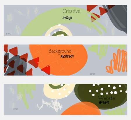 doodled: Doodled triangles scribbles gray orange banner set.Hand drawn textures creative abstract design. Website header social media advertisement sale brochure templates. Isolated on layer Illustration