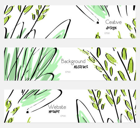 hand brushed: Roughly sketched trees and grass white banner set.Hand drawn textures creative abstract design. Website header social media advertisement sale brochure templates. Isolated on layer