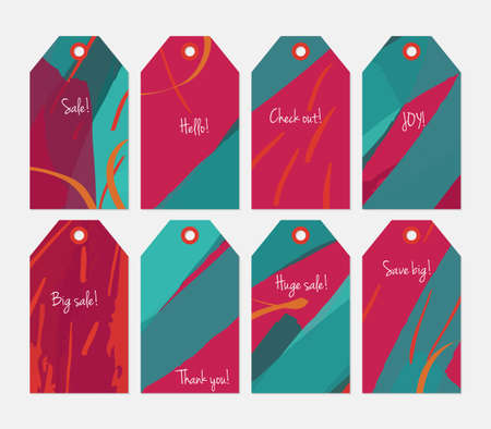 hand brushed: Striped strokes with grunge bright pink green tag set.Creative universal gift tags.Hand drawn textures.Ethic tribal design.Ready to print sale labels Isolated on layer.