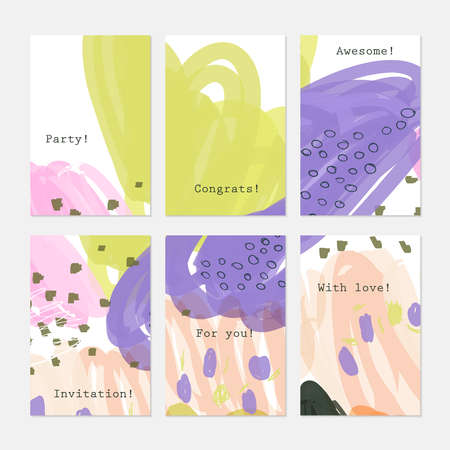 hand brushed: Doodles circles scribbles purple white.Hand drawn creative invitation greeting cards.Poster placard flayer design templates. Anniversary Birthday wedding party cards.Isolated on layer.