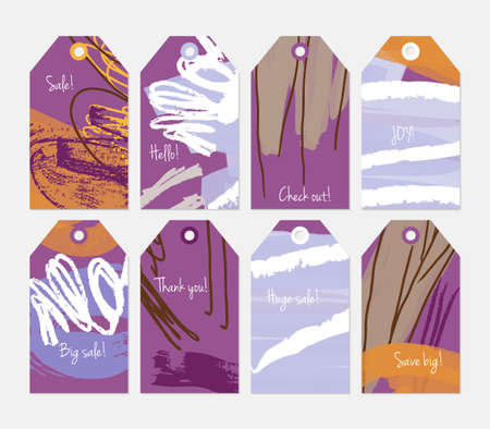 hand brushed: Grunge texture rough strokes floral sketch purple tag set.Creative universal gift tags.Hand drawn textures.Ethic tribal design.Ready to print sale labels Isolated on layer.