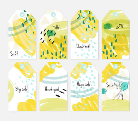 Floral seasonal with sketched berry white yellow tag set.Creative universal gift tags.Hand drawn textures.Ethic tribal design.Ready to print sale labels Isolated on layer.
