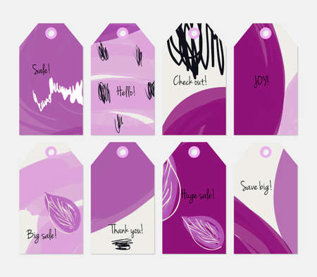 Seasonal with sketched leaf purple white tag set.Creative universal gift tags.Hand drawn textures.Ethic tribal design.Ready to print sale labels Isolated on layer. Illustration