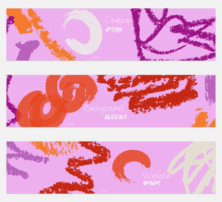brushed: Rough crayon texture purple orange banner set.Hand drawn textures creative abstract design. Website header social media advertisement sale brochure templates. Isolated on layer