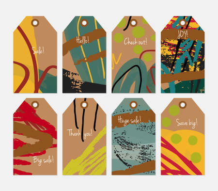 hand brushed: Grunge texture rough strokes floral sketch brown dots tag set.Creative universal gift tags.Hand drawn textures.Ethic tribal design.Ready to print sale labels Isolated on layer.