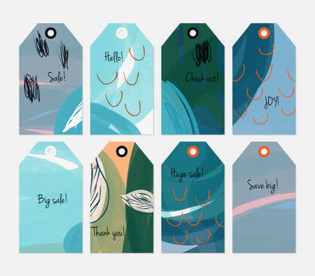 hand brushed: Seasonal with sketched leaf cyan tag set.Creative universal gift tags.Hand drawn textures.Ethic tribal design.Ready to print sale labels Isolated on layer. Illustration