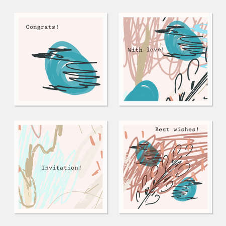 hand brushed: Scketched tress and green bird.Hand drawn creative invitation greeting cards. Poster, placard, flayer, design templates. Anniversary, Birthday, wedding, party cards set of 4. Isolated on layer. Illustration