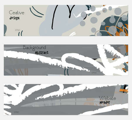 hand brushed: Roughly drawn floral elements gray banner set.Hand drawn textures creative abstract design. Website header social media advertisement sale brochure templates. Isolated on layer Illustration