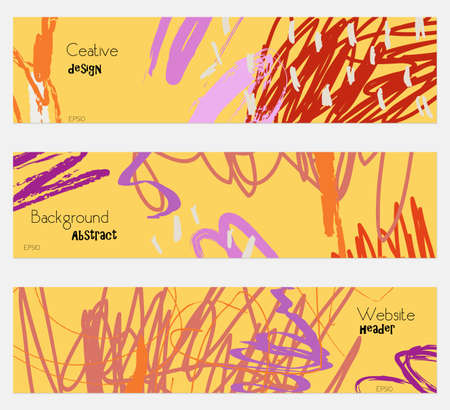 hand brushed: Scribbles marks doodles yellow banner set.Hand drawn textures creative abstract design. Website header social media advertisement sale brochure templates. Isolated on layer