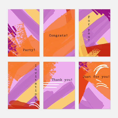 hand brushed: Grunge texture abstract stokes purple orange.Hand drawn creative invitation greeting cards.Poster placard flayer design templates. Anniversary Birthday wedding party cards.Isolated on layer.