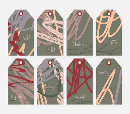 heather: Roughly scribbled orange cream heather green yellow tag set.Creative universal gift tags.Hand drawn textures.Ethic tribal design.Ready to print sale labels Isolated on layer.