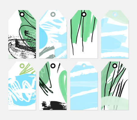 Grunge texture rough strokes floral sketch blue green tag set.Creative universal gift tags.Hand drawn textures.Ethic tribal design.Ready to print sale labels Isolated on layer. Illustration