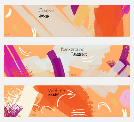 Grudge textured strokes orange cream banner set.Hand drawn textures creative abstract design. Website header social media advertisement sale brochure templates. Isolated on layer
