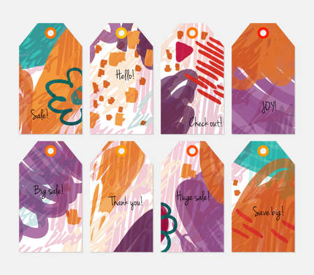 Striped strokes with grunge scribbled purple tag set.Creative universal gift tags.Hand drawn textures.Ethic tribal design.Ready to print sale labels Isolated on layer. Illustration