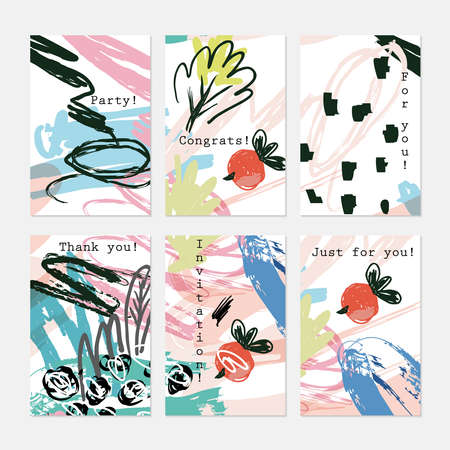 doodled: Abstract doodled berries red and black.Hand drawn creative invitation greeting cards.Poster placard flayer design templates. Anniversary Birthday wedding party cards.Isolated on layer.