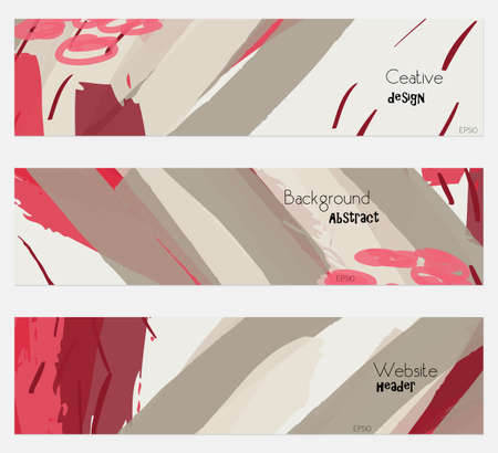 Marker strokes and doodles red gray banner set.Hand drawn textures creative abstract design. Website header social media advertisement sale brochure templates. Isolated on layer Stock Vector - 75005909