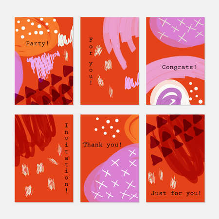 Doodled triangles on bright orange.Hand drawn creative invitation greeting cards.Poster placard flayer design templates. Anniversary Birthday wedding party cards.Isolated on layer.