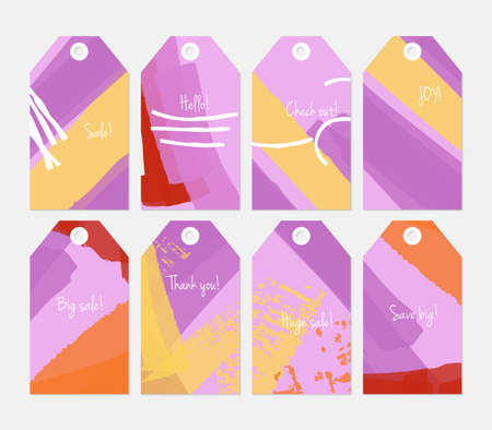 hand brushed: Abstract rough grunge strokes gray purple yellow tag set.Creative universal gift tags.Hand drawn textures.Ethic tribal design.Ready to print sale labels Isolated on layer.