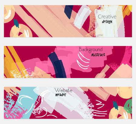 Abstract berries with rough bright pink banner set.Hand drawn textures creative abstract design. Website header social media advertisement sale brochure templates. Isolated on layer