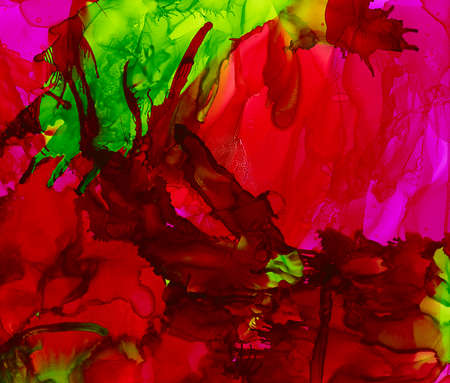 Bright red some green splashes.Colorful background hand drawn with bright inks and watercolor paints. Color splashes and splatters create uneven artistic modern design.