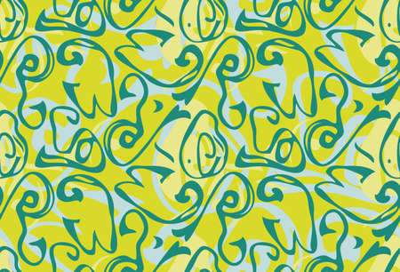 Repeating pattern with Abstract roughly curved shapes green grass.Hand drawn with ink seamless background. Creative roughly hand drawn shapes.