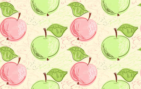Repeating pattern with Hand drawn with pencils green pink apples on yellow.Hand drawn with ink and colored with marker brush seamless background. Creative seasonal design with abstract fruits.