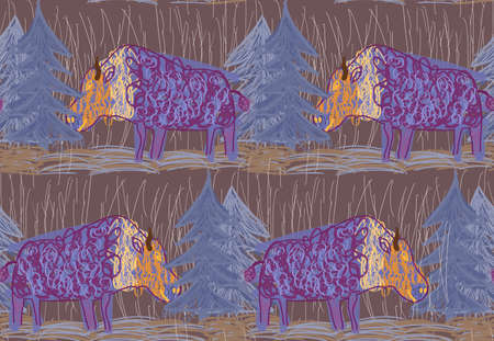 Repeating pattern with Abstract scribbled purple bulls with trees.Hand drawn with ink and colored with marker brush seamless background with bulls in the forest.