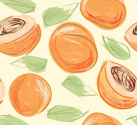 Repeating pattern with Hand drawn with pencils peaches on yellow.Hand drawn with ink and colored with marker brush seamless background. Creative seasonal design with abstract fruits. Ilustração