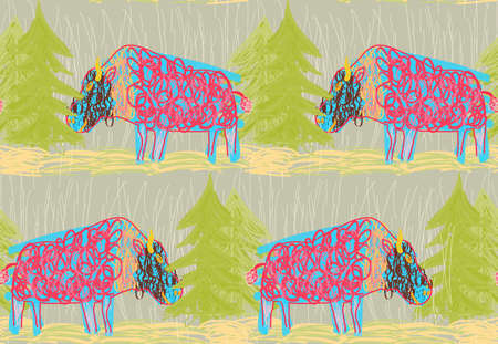 Repeating pattern with Abstract scribbled bulls with trees.Hand drawn with ink and colored with marker brush seamless background with bulls in the forest.