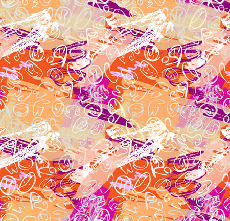 Repeating pattern with Abstract roughly curved shapes textured on orange purple.Hand drawn with ink seamless background. Creative roughly hand drawn shapes.