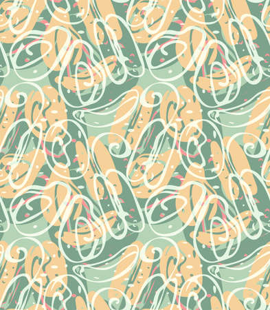 Repeating pattern with Abstract spring seeds green with overlay.Hand drawn with ink seamless background. Creative roughly hand drawn shapes.