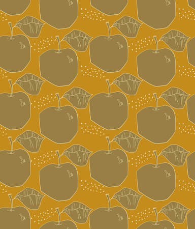 Repeating pattern with Rough abstract brown on yellow apples with leaf and dots.Hand drawn with ink and colored with marker brush seamless background. Creative seasonal design with abstract fruits. Illustration