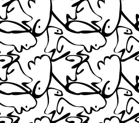 Repeating pattern with Abstract curvy shapes black on white with dots.Hand drawn with ink monochrome seamless background. Creative roughly hand drawn shapes.