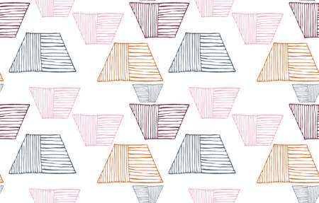 Repeating pattern with Rough uneven striped trapezoids.Hand drawn with ink seamless background. Creative roughly hand drawn shapes.