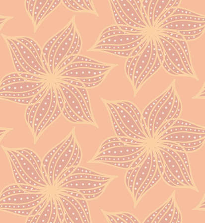 Repeating pattern with Abstract geometrical flower with pointy pedals with dots on light orange.Seamless background with dots and wavy abstract geometrical flowers.