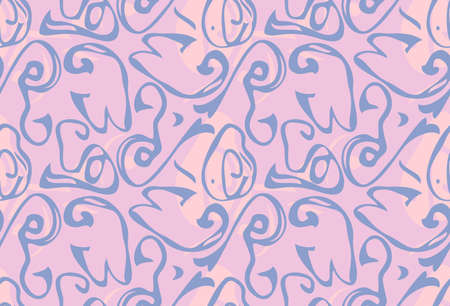 Repeating pattern with Abstract roughly curved shapes light pink purple.Hand drawn with ink seamless background. Creative roughly hand drawn shapes.