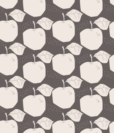 Repeating pattern with Rough abstract yellow on brown apples with leaf and dots.Hand drawn with ink and colored with marker brush seamless background. Creative seasonal design with abstract fruits.