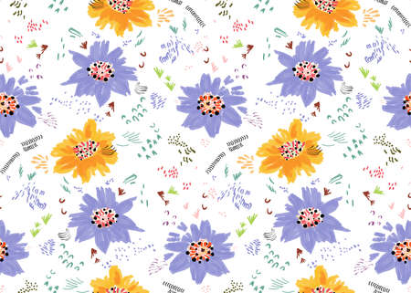 Repeating pattern with Abstract spring orange and purple flowers and seeds.Seamless background with roughly drawn spring flowers and seeds.