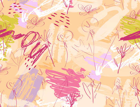 Doodles with grunge texture rough drawn dandelion flower and garden.Abstract seamless pattern. Universal bright background for greeting cards, invitations. Had drawn ink and marker watercolor texture.