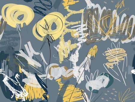 グランジ テクスチャ荒い描かれたタンポポの花と庭にいたずら書き。抽象的なシームレス パターン。グリーティング カード、招待状の普遍的な明