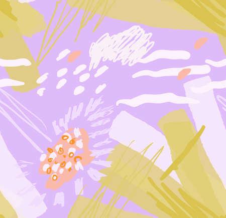 春の花や種子に大体引出されました。抽象的なシームレス パターン。グリーティング カード、招待状の普遍的な明るい背景。インクとマーカーの水