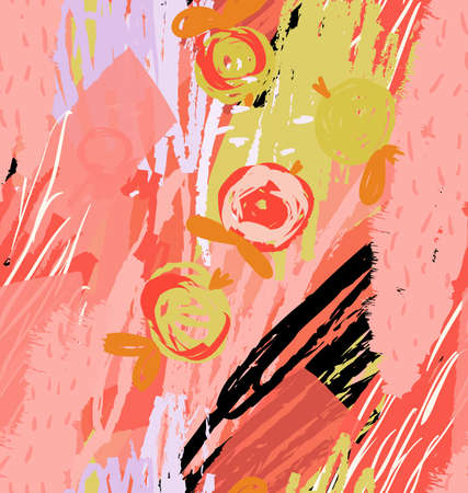 Rough scribbles and doodles with abstract apples.Abstract seamless pattern. Universal bright background for greeting cards, invitations. Had drawn ink and marker watercolor texture.