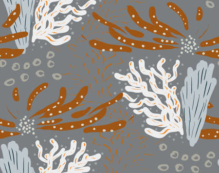 Colored with different brush strokes textures and dots floral underwater seaweed and corals.Abstract seamless pattern. Universal bright background for greeting cards, invitations. Had drawn ink and marker watercolor texture.