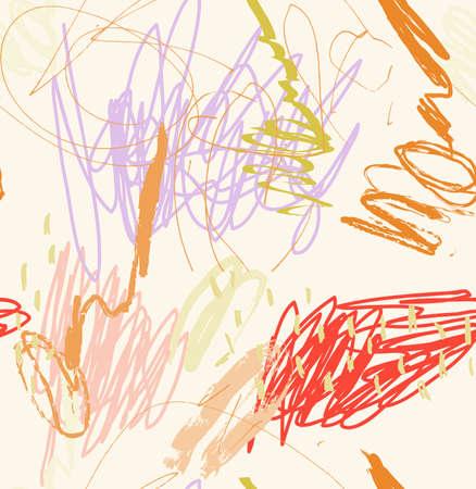 鉛筆ランダムな子供のドットとストロークを描画します。抽象的なシームレス パターン。グリーティング カード、招待状の普遍的な明るい背景。イ