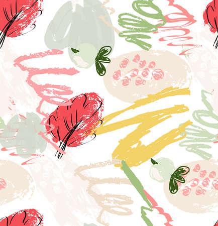 ラフ落書きやいたずら書きを果実と花葉。抽象的なシームレス パターン。グリーティング カード、招待状の普遍的な明るい背景。インクとマーカー  イラスト・ベクター素材